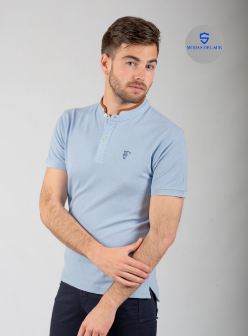 Polo Oxford de cuello mao | azul claro