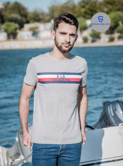 camiseta con logo de la marca a la vaquera color gris