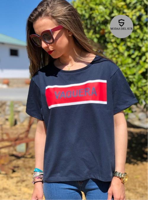 camiseta con logo de la marca a la vaquera mujer color azul