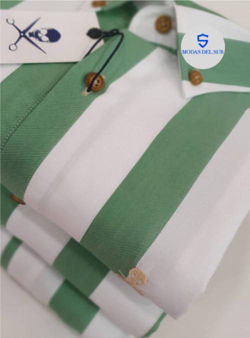 camisa de rayas color verde de la marca bones