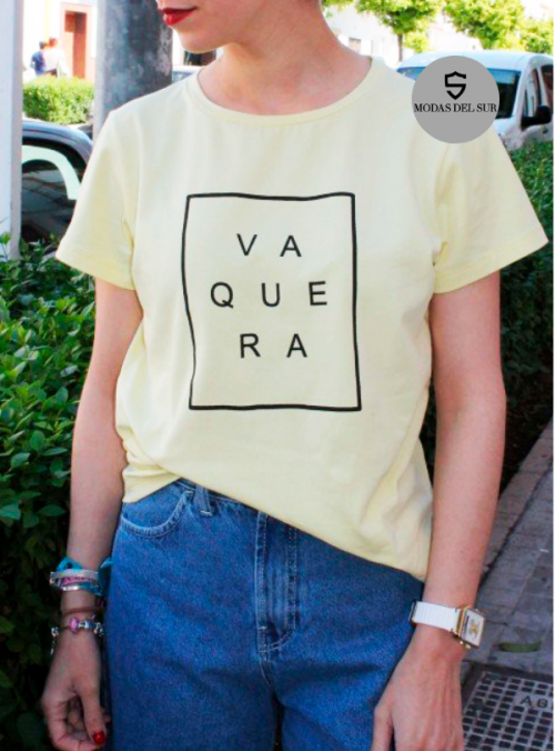 camisa logo de la marca a ala vaquera amarillo