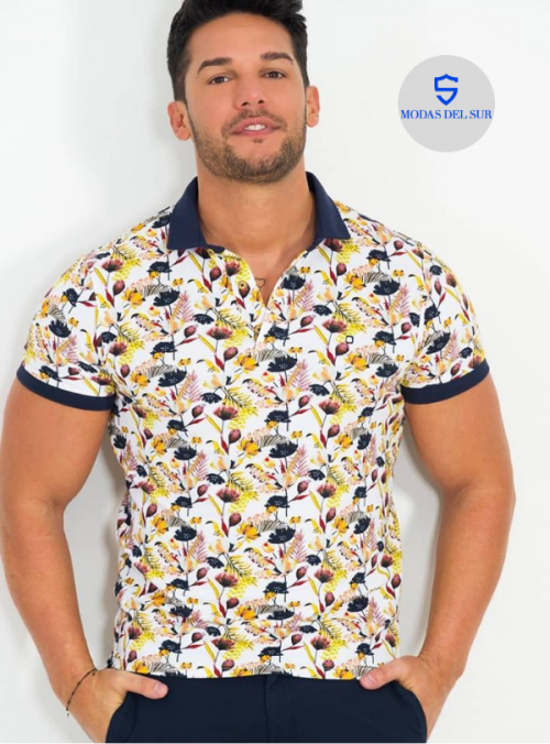 polo estampado floral yellow skin