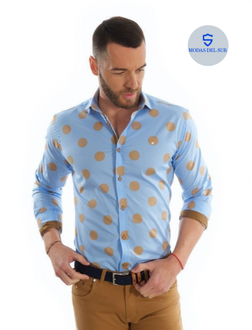 camisa con lunares camel Yellow skin