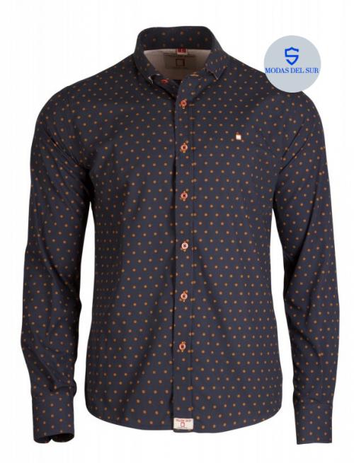 camisa marino/naranja Yellow Skin