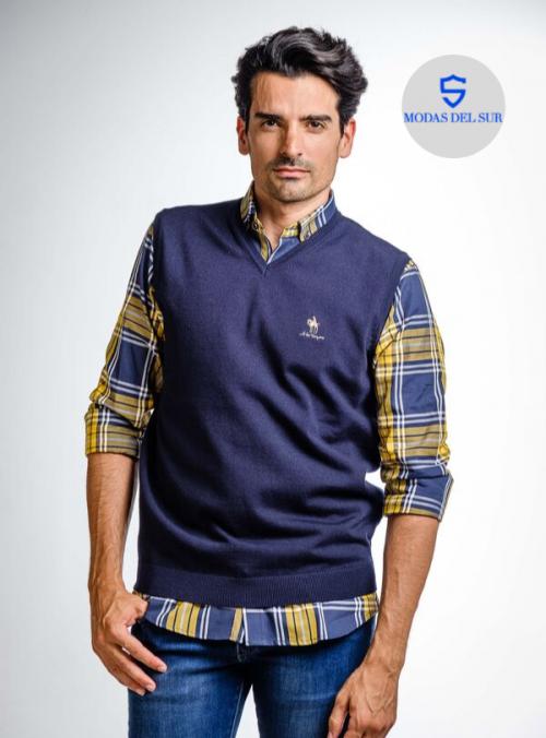 jersey sin manga, a la vaquera, color azul